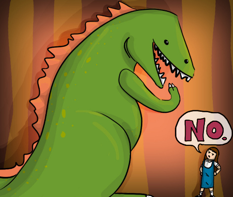 Dinosaur wants to eat you--you say, No!